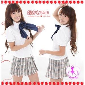 コスプレ 【学生服】 大きいリボン付スカートの女子制服コスプレ