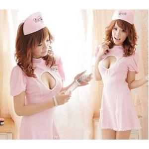 コスプレ ナース服*背中蝶リボンピンクの看護婦コスプレ 5129 - 拡大画像