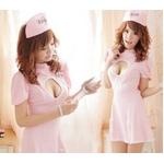 コスプレ ナース服*背中蝶リボンピンクの看護婦コスプレ 5129