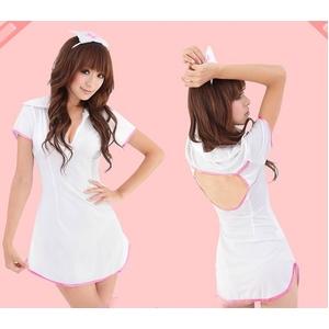 コスプレ ナース服*裾ピンクライン白の看護服コスチューム - 拡大画像