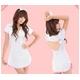 コスプレ ナース服*裾ピンクライン白の看護服コスチューム