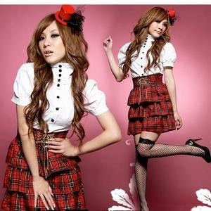 コスプレ 【学生服】赤チェックスカートのコスプレ/コスチューム 6010