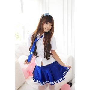 コスプレ 【学生服】バニエ入りブルーのセーラー服☆コスプレ 6052 - 拡大画像