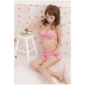 ランジェリー 【ベビードール】ピンク★ブラ&スカートのランジェリーセット 8930 - 拡大画像