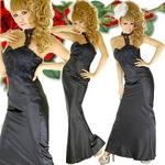 ロングドレス ケミカルレースサテンドレス 黒