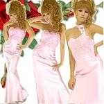 ロングドレス ケミカルレースサテンドレス ピンク