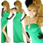 セクシースリットロングドレス 【ラインストーン付き】ストレッチ素材 グリーン
