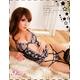 コスプレ 2011新作 花柄刺繍シースルーランジェリー4点セット・黒 写真2