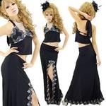 ロングドレス【セパレート】 ケミカルレーススリット 2ピースドレス  黒