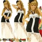 ロングドレス 【透けレース切り替え美脚ドレス】 黒