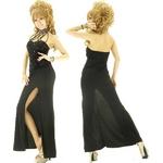キャバ ドレス スパンコール チャイナネック ロングドレス 黒