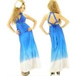 キャバ ドレス サイド魅せネックビジュグラデーションサテンロングドレス ロイヤルブルー
