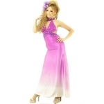 ドレス サイド魅せネックビジュグラデーションサテンロングドレス パープル