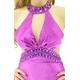 ドレス サイド魅せネックビジュグラデーションサテンロングドレス パープル 写真2