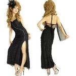 キャバ ドレス ストール付き流れるレース×ジルコンラインストーン大胆スリット ロングドレス 黒
