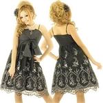 キャバ ドレス おリボンシャンタンレースレイヤードミディドレス 黒