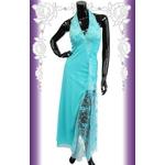 キャバ ドレス ロングドレス ガーリーパステル×スリットラメレース ドレス 黒