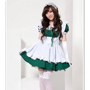 2011年新作 コスプレ カチューシャ付きメイドさんコスチューム3点セット・緑 - 拡大画像