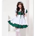 2011年新作 コスプレ カチューシャ付きメイドさんコスチューム3点セット・緑
