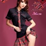 コスプレ 黒×赤チェック ミニスカ女子制服 コスチューム