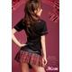 コスプレ 黒×赤チェック ミニスカ女子制服 コスチューム - 縮小画像4