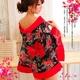コスプレ 2011年新作 花柄シースルー浴衣コスチューム/黒×赤 - 縮小画像1