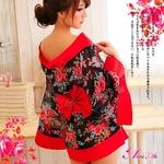 コスプレ 2011年新作 花柄シースルー浴衣コスチューム/黒×赤