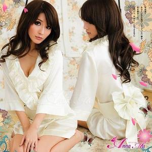 コスプレ 2011年新作 サテンの着物風ドレス♪着物・帯・パンツの3点set/コスプレ/ z583 - 拡大画像