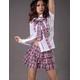 コスプレ 2011年新作 ピンクチェックの可愛い制服コスチューム/コスプレ/ ildc426 写真2