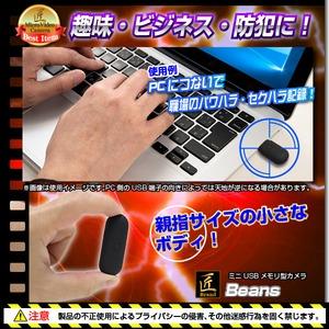 【小型カメラ】ミニUSBメモリ型ビデオカメラ(匠ブランド)『Beans』(ビーンズ)
