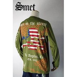 smet(スメット) long tee flagskull(men's) green S h02
