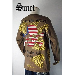 smet(スメット) long tee flagskull(men's) brown M h02