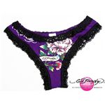 ed hardy(エドハーディー) レディース下着 beyonceflower purple-black XS