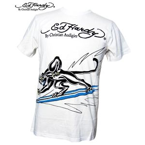 ed hardy(エドハーディー) メンズTシャツ S SLV TEE SURFING PANTHER ホワイト S - 拡大画像