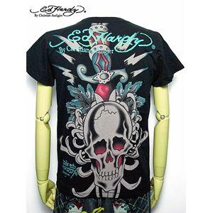 ed hardy(エドハーディー) メンズTシャツ Skull Dagger & Blue Tigers Black M h03