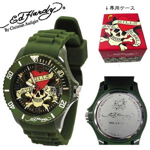 ed hardy(エドハーディー) 腕時計 メンズ/レディース【MH-LK0386】グリーン - 拡大画像