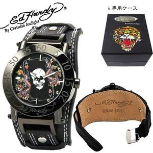ed hardy(エドハーディー) 腕時計 メンズ/レディース スカル&ドラゴン【HU-AC0128】ブラック