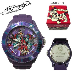 ed hardy(エドハーディー) 腕時計 メンズ/レディース【MH-WH0576】パープル - 拡大画像