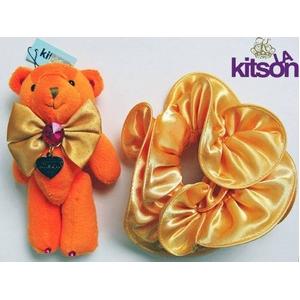 KITSON(キットソン) クマ キーホルダー 携帯ストラップ&シュシュ セット オレンジ - 拡大画像