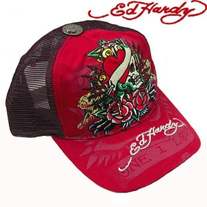 Ed Hardy(エドハーディー) キャップ ED HARDY SPECIALTY CAP/ TRUE HEART COLLAGE ハート/ RED【R1P0AD7U】 - 拡大画像