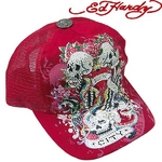 Ed Hardy(エドハーディー) キャップ ED HARDY SPECIALTY PLATINUM CAP/ NYC COLLAGE ニューヨーク ストーン付/RED【R1P0BX7Y】