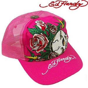Ed Hardy(エドハーディー) キャップ ED HARDY BASIC CAP/ SKULL AS YOU WILL BE&ROSES スカル ローズ/ HOTPINK【R1P0AU70】 - 拡大画像