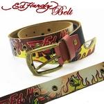 Ed Hardy Belt(エドハーディー ベルト) レザー ベルト【EH1411】スカル・ロゴ ユニセックス S