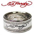 ED HARDY(エドハーディー)リング  ED HARDY LOGO BAND STAINLESS STEEL キュービックジルコニアRING ロゴ/ EHRSSCZ0016/#9/18