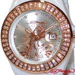 ED HARDY(エドハーディー)腕時計 Ed Hardy Watch JOLIE ラブキル パンサー ローズ JO-PT /ホワイト×ゴールド