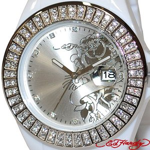 ED HARDY(エドハーディー)腕時計 Ed Hardy Watch JOLIE ラブキル パンサー ローズ JJO-RS /ホワイト×シルバー - 拡大画像