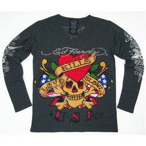 Ed Hardy(エドハーディー) メンズ Vネック ロンT 長袖 Tシャツ ラブキル LOVE KILLS SLOWLY ラインストーン【M03PBG526】 L - 拡大画像