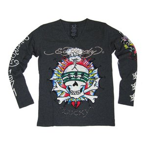 Ed Hardy(エドハーディー) メンズ Vネック ロンT 長袖 Tシャツ LUCKY ラッキー ラインストーン【M03PBG530】 L - 拡大画像