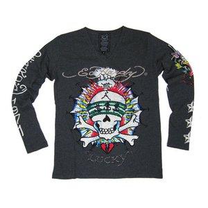 Ed Hardy(エドハーディー) メンズ Vネック ロンT 長袖 Tシャツ LUCKY ラッキー ラインストーン【M03PBG530】 XL - 拡大画像