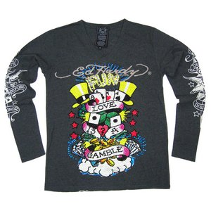 Ed Hardy(エドハーディー) メンズ Vネック ロンT 長袖 Tシャツ  GAMBLE ギャンブル ラインストーン【M03PBG531】 M - 拡大画像